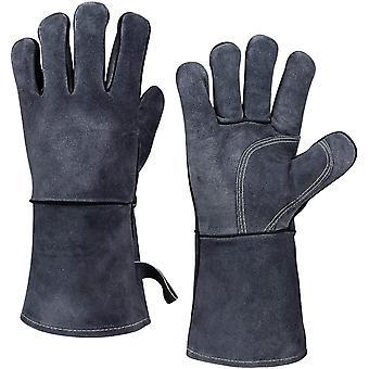 Aufwärmen BBQ Handschuhe, 500° C Hitzebeständiger Leder Grillhandschuh