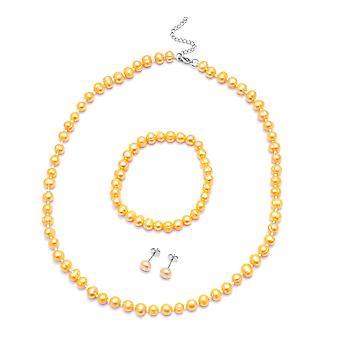 Perles, ficelle de perles, ensemble de bijoux en clou pour femmes Perle d'or en acier 0.003ct