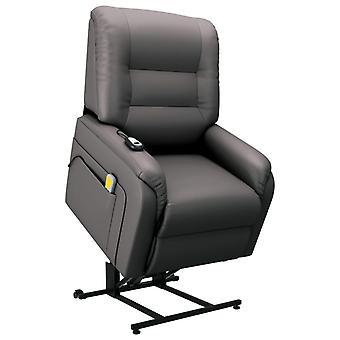 vidaXL massage TV fauteuil met stand-up aid Elektrisch Grijs kunstleer