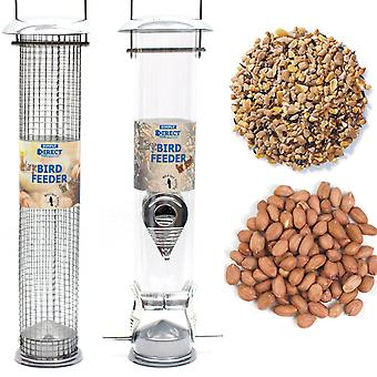 1 x Pair of Simply Direct Large Deluxe Nut and Seed Feeders with 1KG bag of Peanut Feed and 1KG bag of Seed Wild Bird Feed