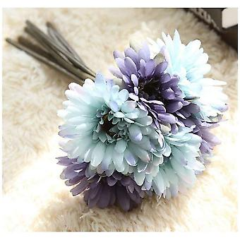Artificial Daisy Flower Bridal Bridesmaid Bouquet 7 Branches Silk Daisy Flower Diy Decoration Blue