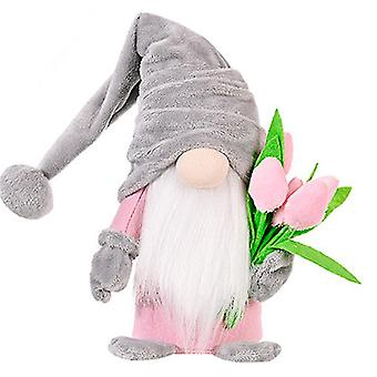 Tulip Rudolph Mother's Day Valentine's Day Doll Mom's Birthday Gift Home Window Decoration(Gray)
