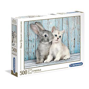 Clementoni Cat &Bunny Puzzle de haute qualité (500 pièces)