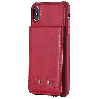Pu skórzana pokrywa dla iphone12 pro max odporne na wstrząsy etui z gniazda karty czerwony kds-1