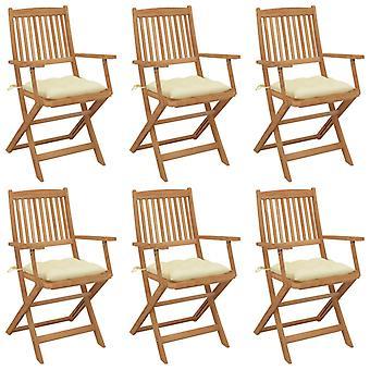 vidaXL chaises de jardin pliable 6 pcs. avec oreiller bois massif acacia