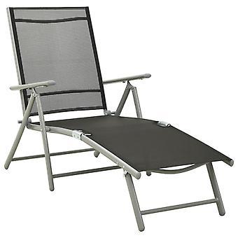 vidaXL Taitettava aurinkotuoli tekstiili ja alumiini musta hopea