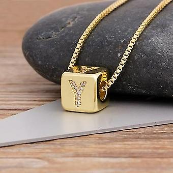 2022 Hot sale a-z initials micro pave copper cz cube letter pendant necklaces for women men charm chain family name jewelry gift