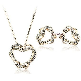 Beloved Hearts Necklace Earrings Set(Gold)