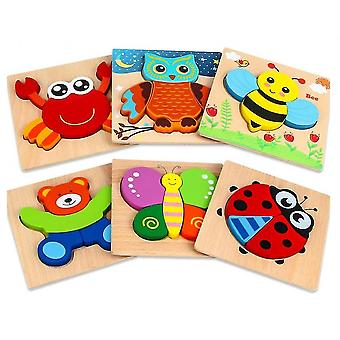 Animal Puzzles For Toddlers, 6 Pcs Wooden Jigsaw Puzzles For Kids(Style 1)