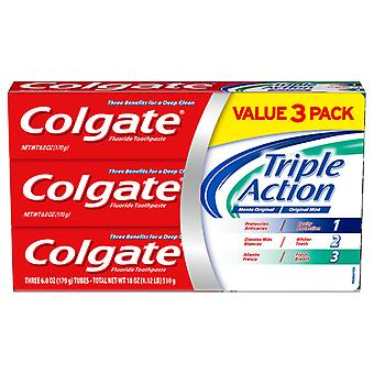Colgate Triple Action Fluoride Toothpaste, Teeth Whitening and Cavity Protection, Mint, 6 Oz, 3 Ct