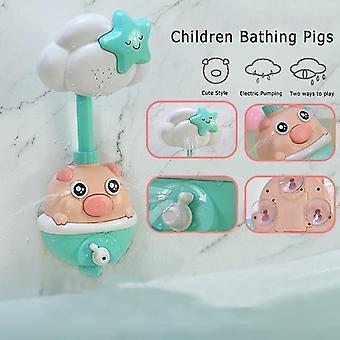 Fürdő játékok baba fürdőszoba automatikus sprinkler víz malacka kék