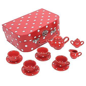 Toy kitchens play food red polka dot porcelain tea set