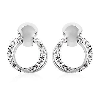 TJC Stud fülbevaló nőknek fehér köbös cirkónium ajándék neki 0.01ct