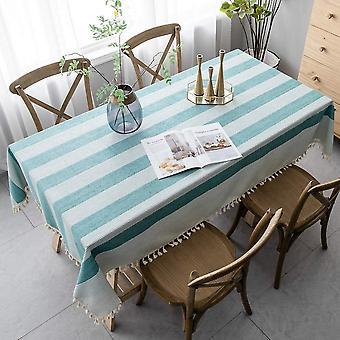Spleißen Staubdichte Tischdecke, rechteckige Tischdecke, mit dekorativem Streifen Garten TeeTisch Dekoration (140 * 140cm, Grün)