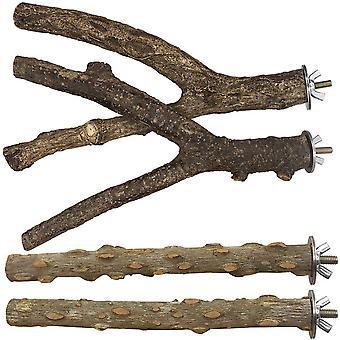 Natürliche Holzstangen für Vogelkäfig 4 Stück