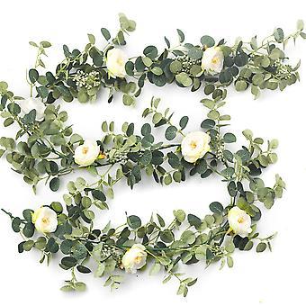 8 White Pink Hearts Artificial Flower Silk Flowers Rose Leaf Garland Vine Ivy Party Wedding Garden Halloween Christmas Deoration