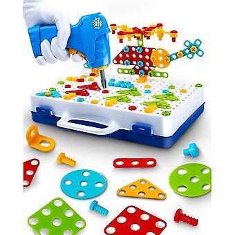 Elektrische diy boor stem puzzel speelgoed bouwen educatieve kleuterschool leren speelgoed voor kinderen gift 237 stuks