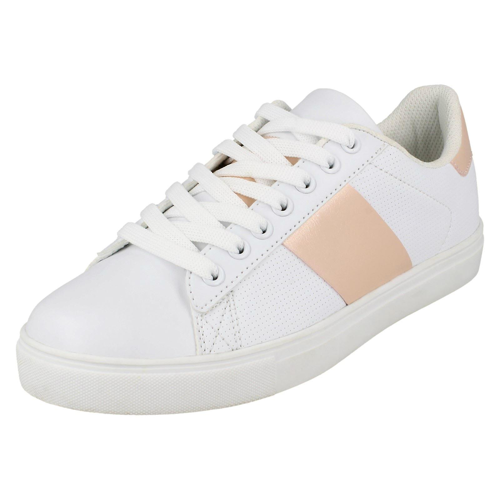 Ladies Spot On Flat Lace Up Trainers F7046 yQxA2