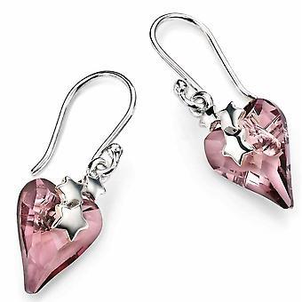 925 zilver Swarovski Crystal hart en sterren Earring