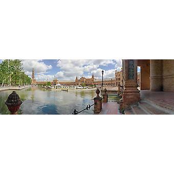 Vista della Plaza De Espana Parque Maria Luisa Seville Andalusia Spagna Stampa artistica di immagini panoramiche