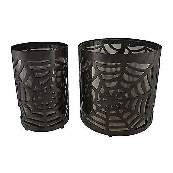 2er Set Metall & Glas Spinnennetz-Kerze-Halter