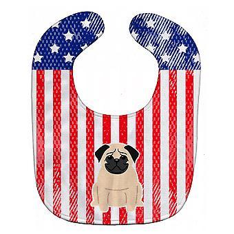 Carolines Treasures  BB3003BIB Patriotic USA Pug Fawn Baby Bib