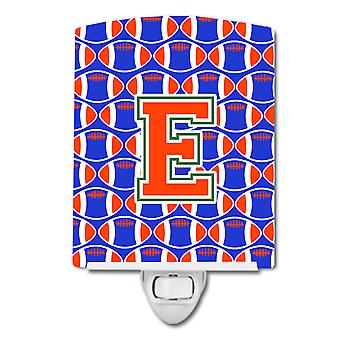 Letter E Football Green, Blue and Orange Ceramic Night Light