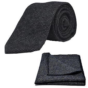 Blu di Prussia & pelle di squalo grigio cravatta & Set Square Pocket