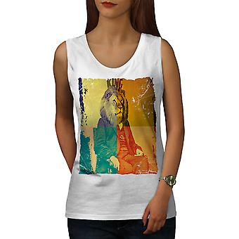 Lion President Animal Women WhiteTank Top | Wellcoda