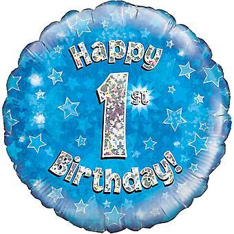 Oaktree 18 Inch Happy 1st Birthday Blue Holographic Balloon