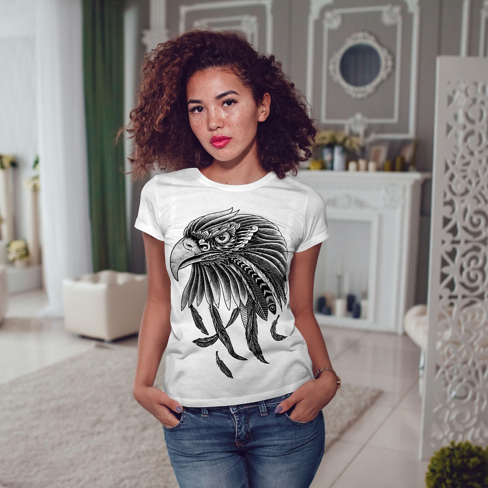 WhiteT-shirt de femme indienne Eagle   Wellcoda
