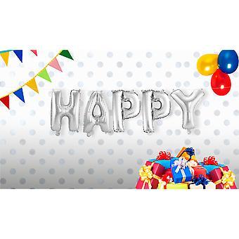 Folienballon Set HAPPY Schriftzug 5 einzelne Ballons Silber circa 36cm