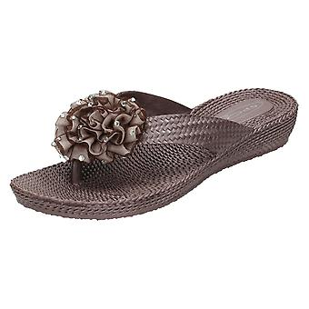 Ladies Spot On Mid Wedge Mule Sandals With Rosette Trim F10266