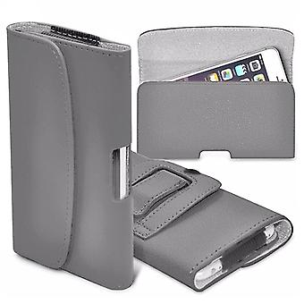 """For Huawei Honor 9 Lite (5.65"""") - Horizontal Faux Leather Belt Holster Case Cover (Grey) by i-Tronixs"""