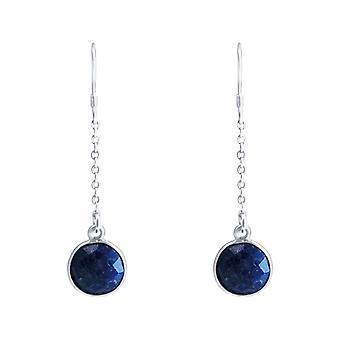 GEMSHINE kvinnors Örhängen i 925 silver yoga örhängen blå safirer Case
