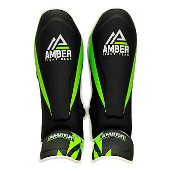 Amber Sports Training Læder MMA Shin Instep Guards Ben Kick Foot Pads XS
