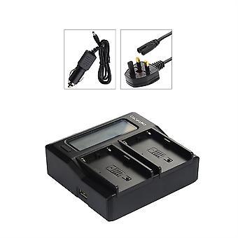 Dot. Foto Panasonic VW-VBN130, VW-VBN260 Dual Akkutöltő-helyettesíti: Panasonic VW-BC20EBK-UK MAINS-12V DC-USB kimenet-LCD kijelző [lásd a kompatibilitás leírását]