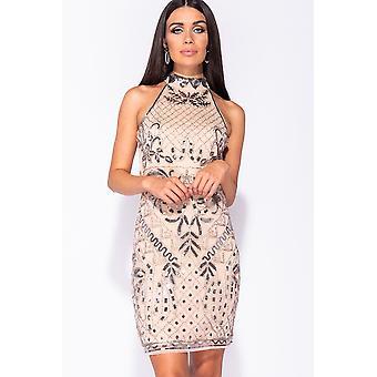 Floral Sequin High Neck Bodycon Dress