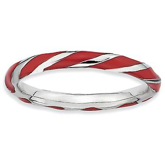 925 Sterling Argent Poli Rhodium plaqué Twisted Red Enameled 2.4 x 2.0mm Stackable Ring Jewelry Gifts for Women - R