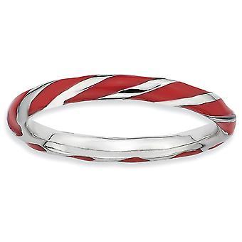 925 sterling sølv polert rhodium belagt vridd rød enameled 2,4 x 2,0 mm stables ring smykker gaver til kvinner - Ri