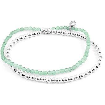 Âncora e tripulação harmonia aventurina verde pedra e prata pulseira - prata/verde