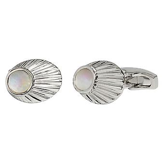 Simon Carter Mother of Pearl Finial Cufflinks - Silver/White