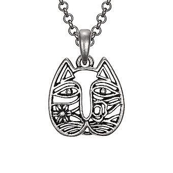 Laurel Burch Silvertone Cat Face Pendant w/ Necklace