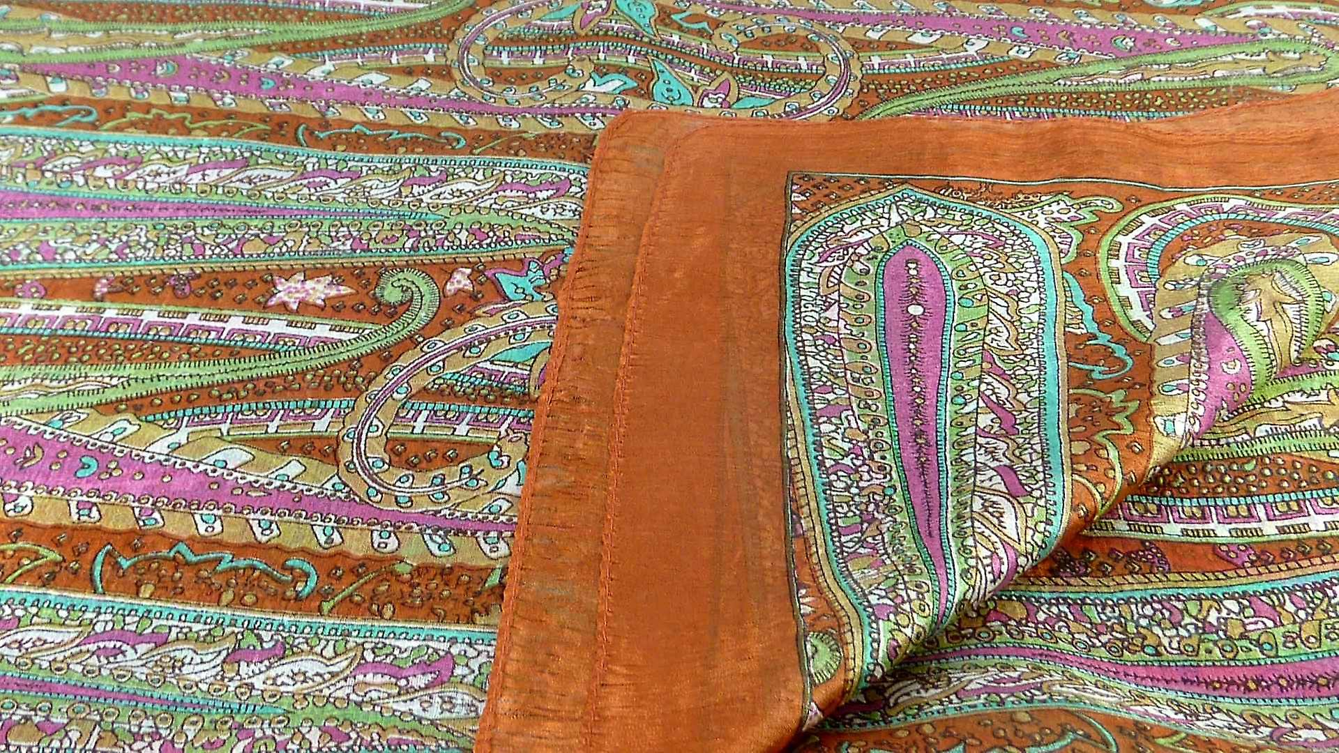 Mulberry Silk Traditional Long Scarf Gosthani Copper by Pashmina & Silk