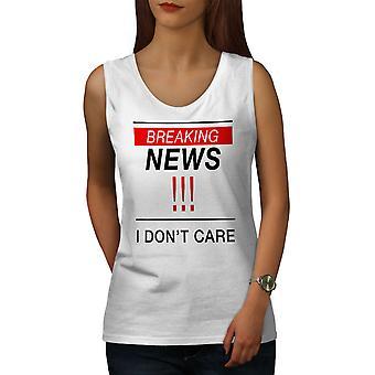 Breaking News Funny Women WhiteTank Top   Wellcoda