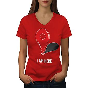 I Am Here Women RedV-Neck T-shirt   Wellcoda