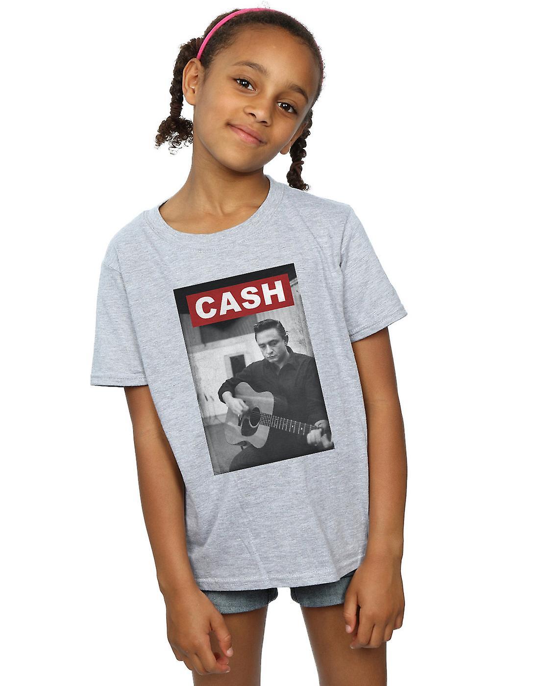 Johnny Cash Girls Guitar Photo T-Shirt