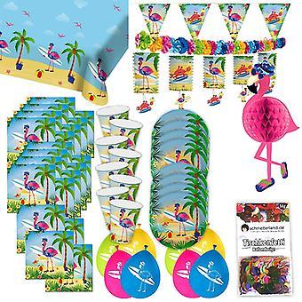 Flamingo rosa tropical festa festa caixa 49 - teilig festa Flamingo pacote de festa