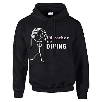 Ladies I'd Rather Be Diving Hoodie Black Hoody
