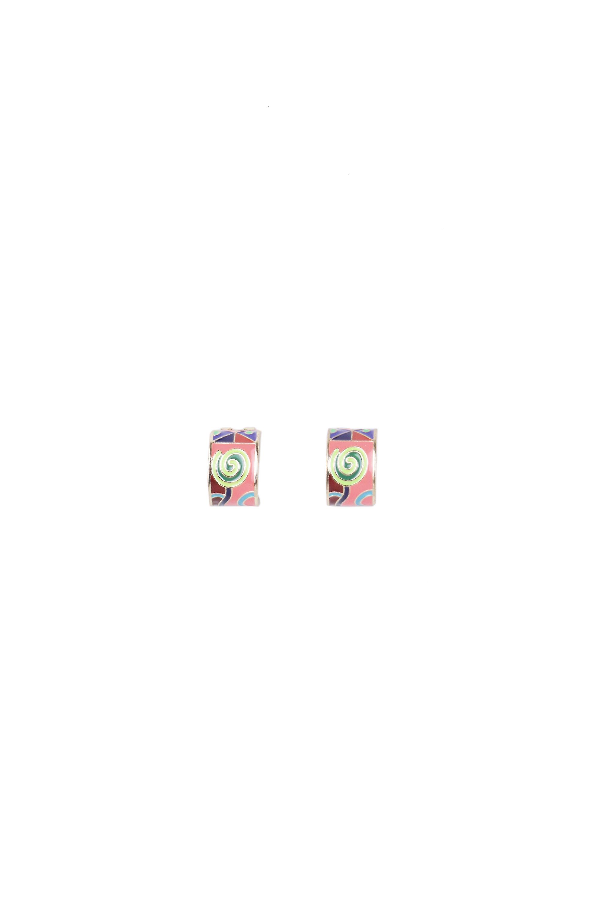 Lovemystyle Gold Hoop Earrings with Multi Coloured Design